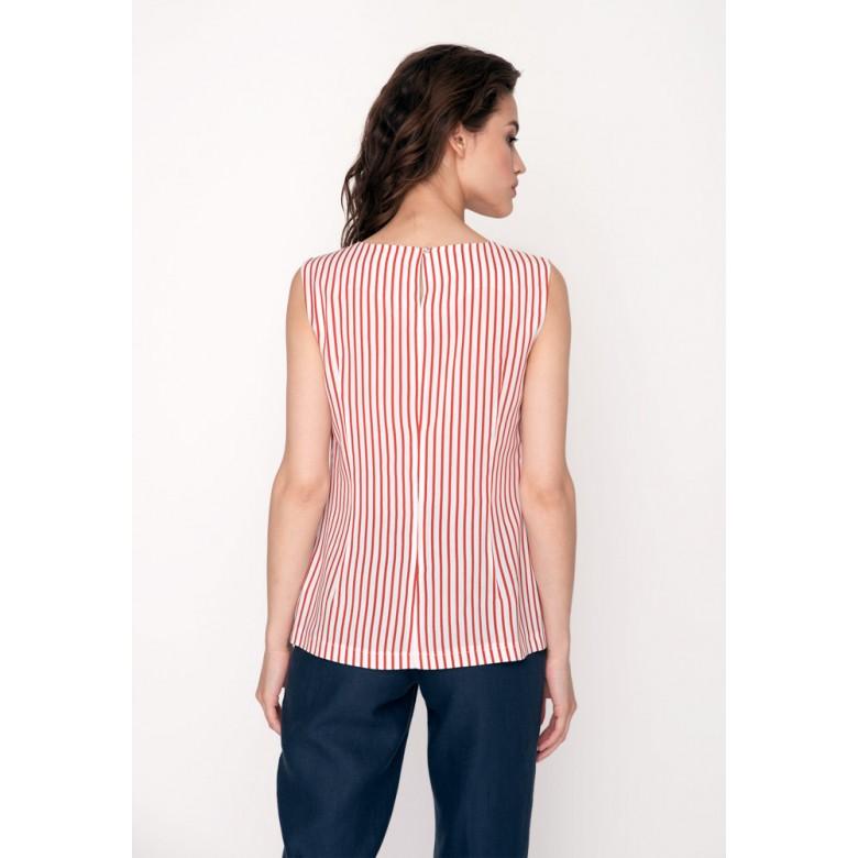 Топ жіночий р.38 (червоно-біла смуга віскоза) мод.31167