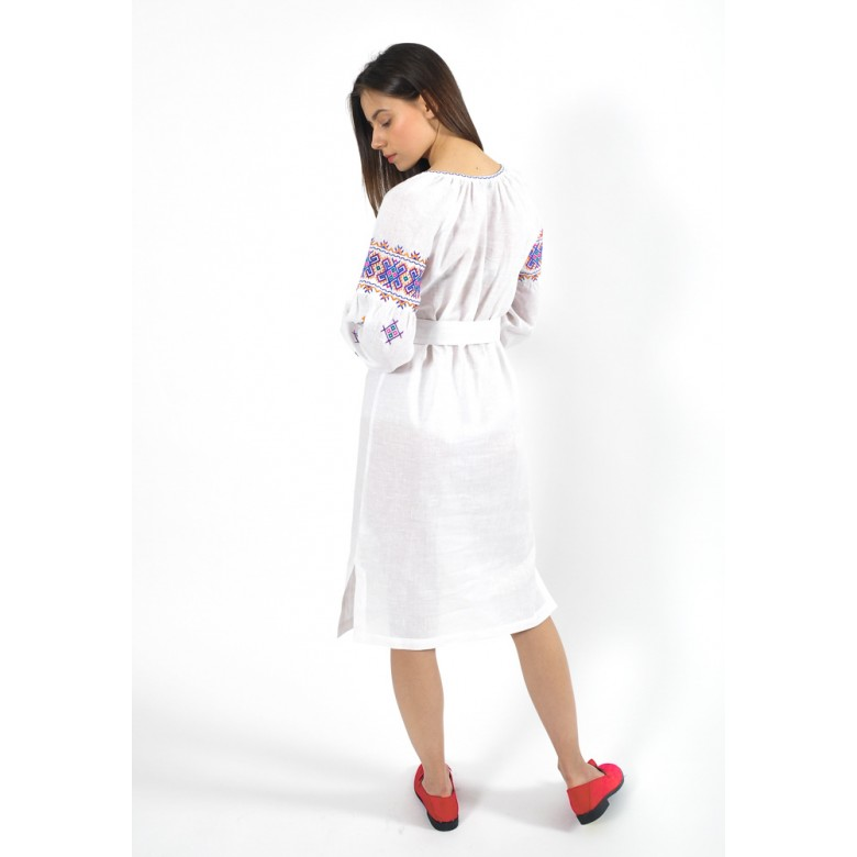 """Плаття НИЗИНКА """"збірка"""" р.40 з поясом (білий бавовна-льон) мод.31393"""