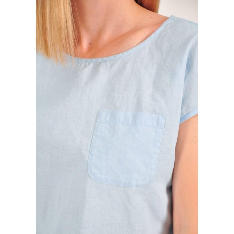 Блуза вільна р.42 (бавовна-льон блакитний) мод.32903