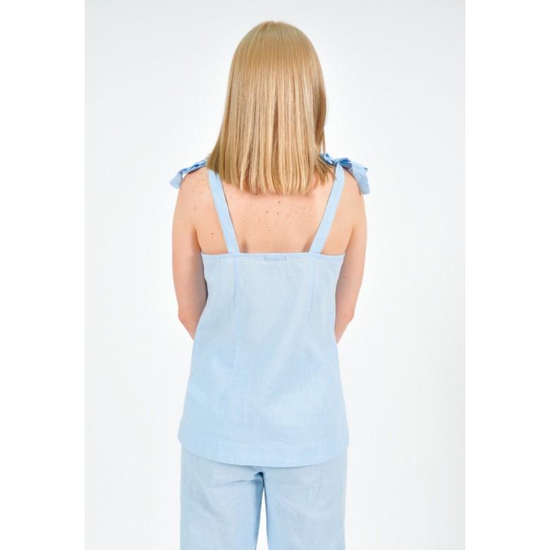 Топ з кокеткою на зав'язках р.44 (бавовна-льон блакитний) мод.32916
