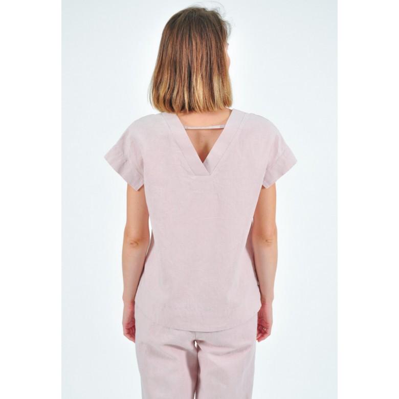 Блуза з V-спинкою р.42 (бавовна-льон лавандовий) мод.32948