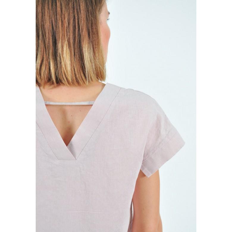 Блуза з V-спинкою р.44 (бавовна-льон лавандовий) мод.32948