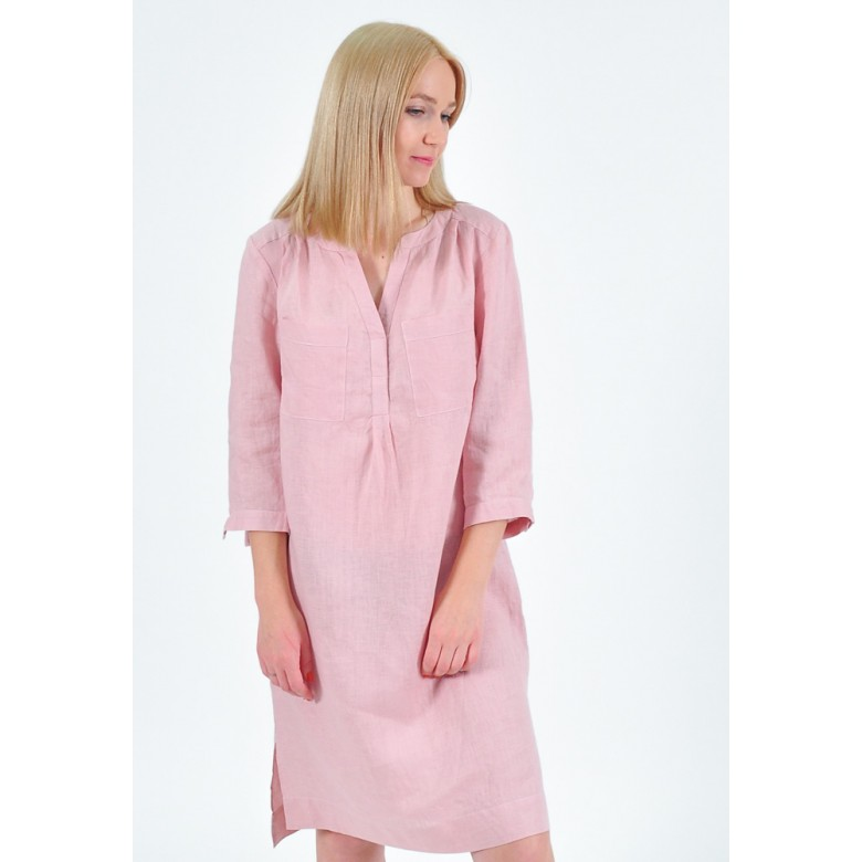 Плаття домашнє р.44 (льон лавандовий) мод.32957