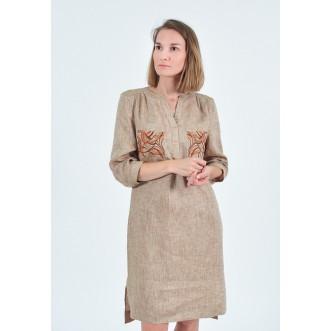 Плаття з вишитими карманами р.44 (льон коричневий меланж) мод.33163
