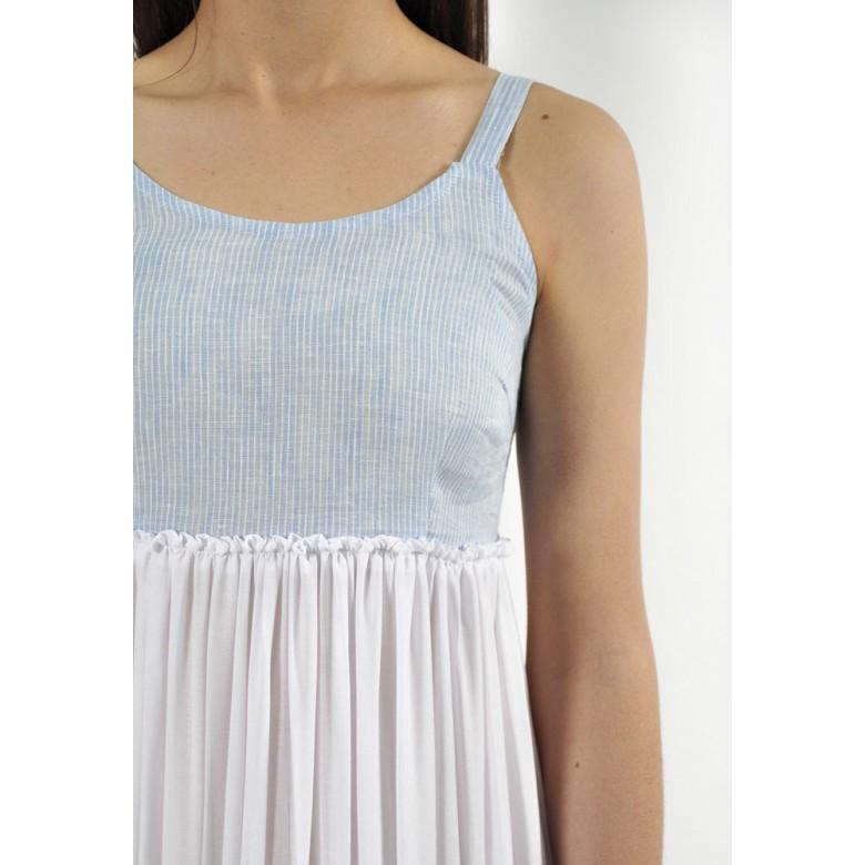 Сарафан жіночий р.40 (блакитні смуги льон, батист-віскоза білий) мод.33593