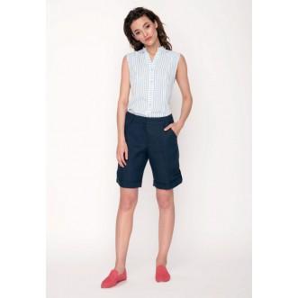 Шорти жіночі короткі з хлястиком р.40 (синій льон) мод.27577