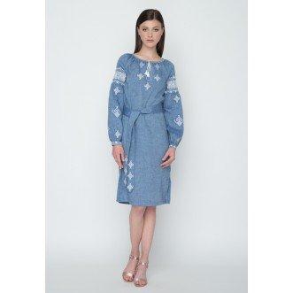"""Плаття НИЗИНКА """"збірка"""" р.40 з поясом (синій меланж льон) мод.28235"""