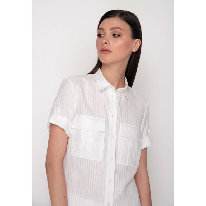 Сорочка довга р.50 (білі полоси льон) мод.29990