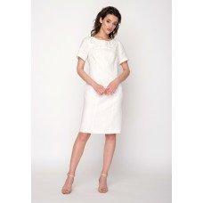 Плаття ГРАЦІЯ з короткими рукавами на підкладі р.40 (молочний льон) мод.30412
