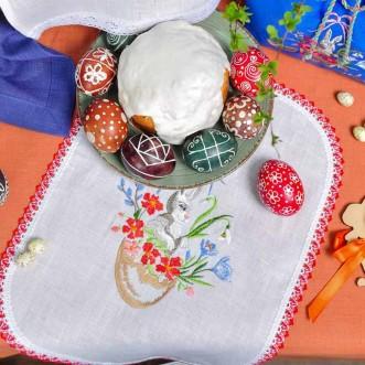 Вишита серветка на дитячу корзинку ВІНТАЖ КРОЛИК 37*25 (білий льон)