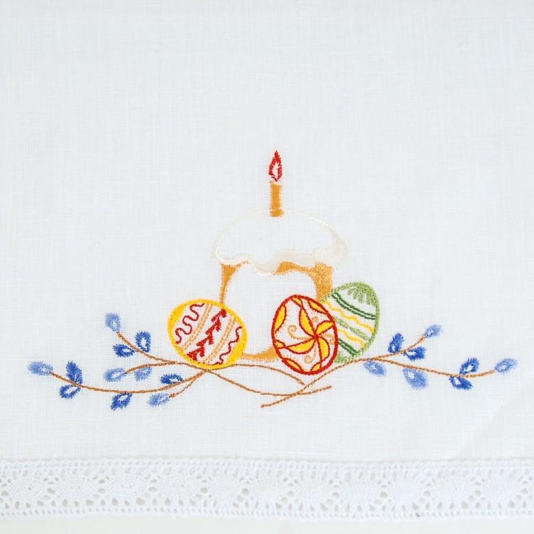 Серветка до Великодня Паска зі свічкою 37*25 з мереживом (білий льон)