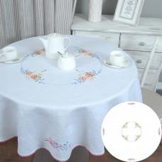 Великодня скатертина ПАСКА ЗІ СВІЧКОЮ кругла d-147 (білий льон)