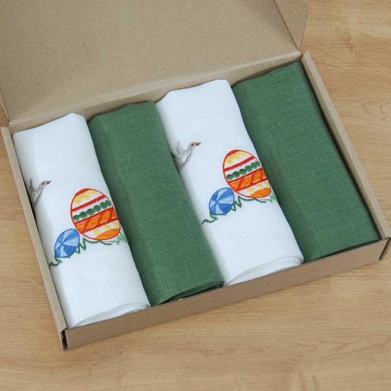 Набір великодніх серветок ПИСАНКИ 40*40 - у комплекті 2+2шт (білий та зелений льон)