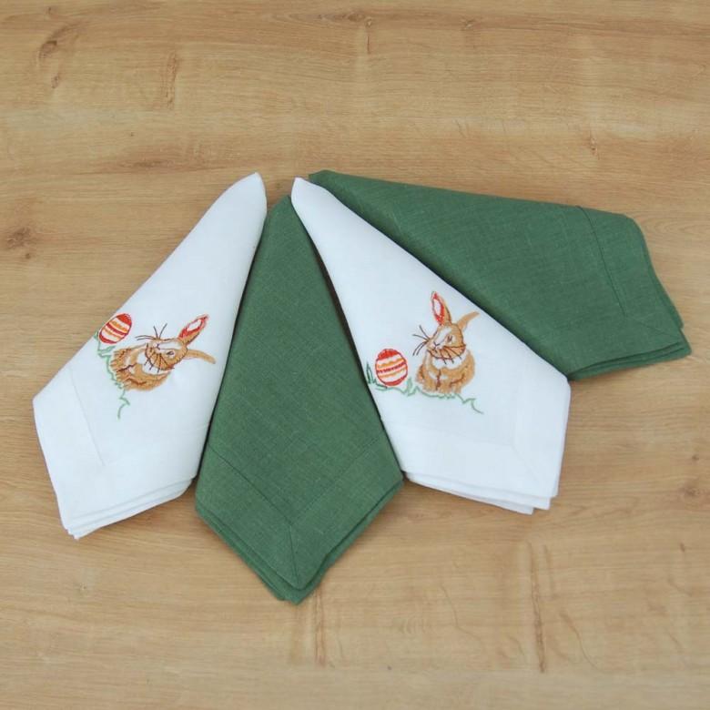 Лляні серветки великодні КРОЛИКИ 40*40 - набір 2+2шт (білий та зелений льон)