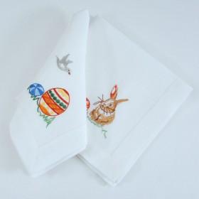 Набір вишитих серветок ПИСАНКИ та КРОЛИК 40*40 - у комплекті 1+1шт (білий льон)