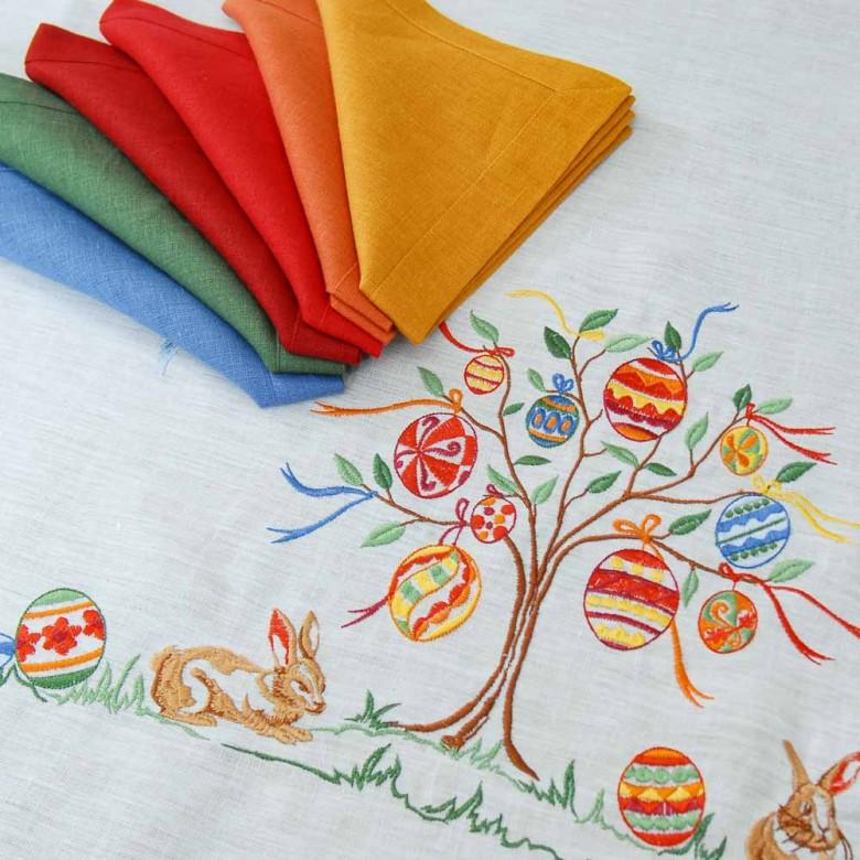Лляна скатертина Великоднє дерево 250*150 (білий льон)