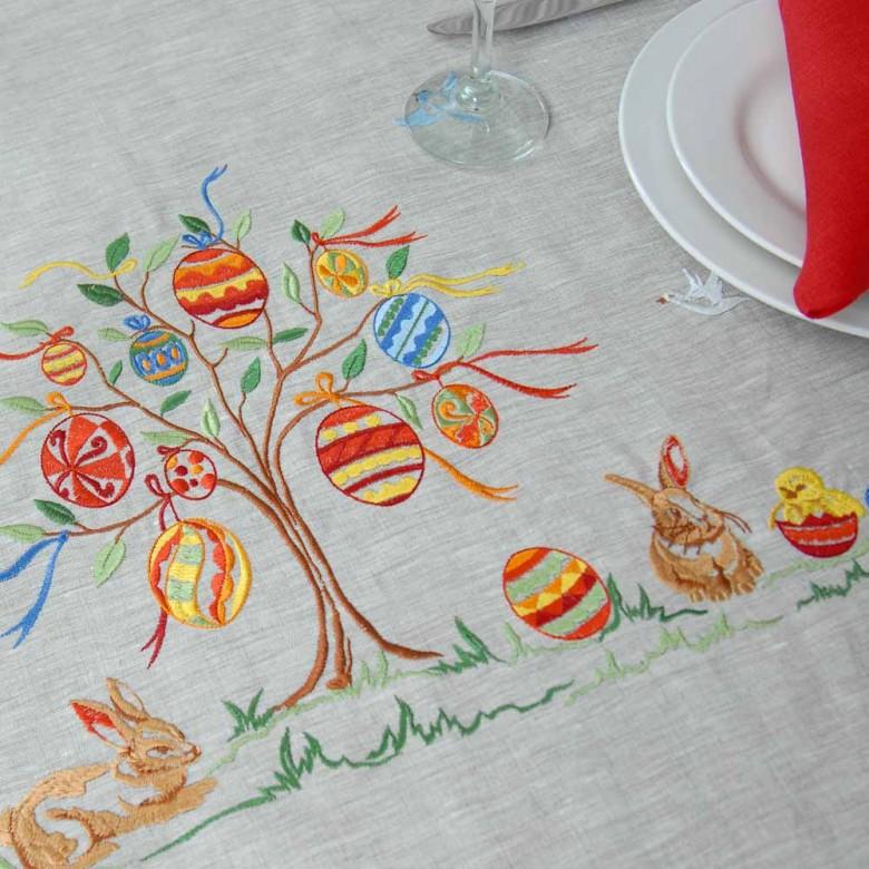 Лляна скатертина Великоднє дерево 240*140 (сірий льон)