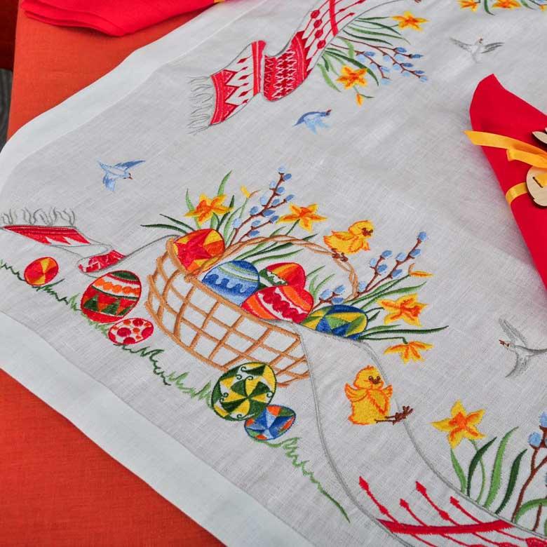 Праздничная мини-скатерть с вышивкой ПАСХА 90*90 (белый лён)