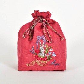 Сумка для паски ВІНТАЖНИЙ КРОЛИК (лісова ягода льон)