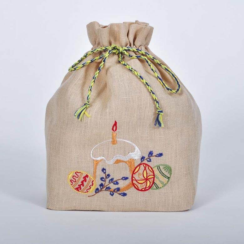 Сумка для паски ПАСКА ЗІ СВІЧКОЮ (солом'яний льон)