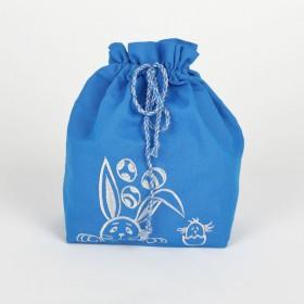 Сумка для паски вишита КРОЛИК (синій льон)