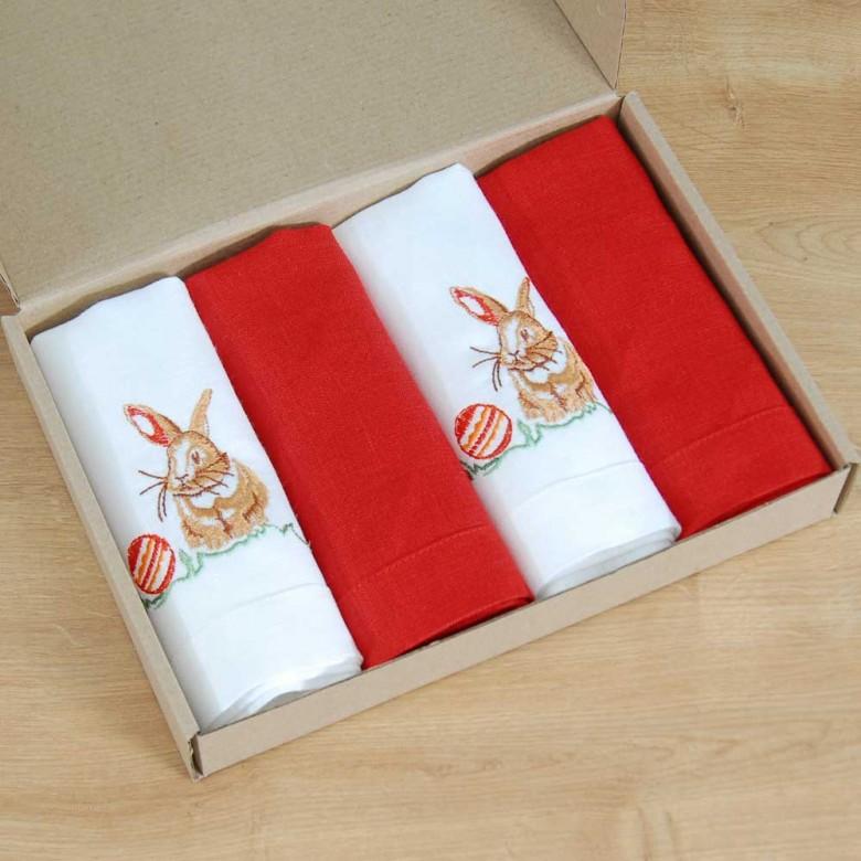 Набір великодніх серветок КРОЛИКИ 40*40 - у комплекті 2+2шт (білий та червоний льон)