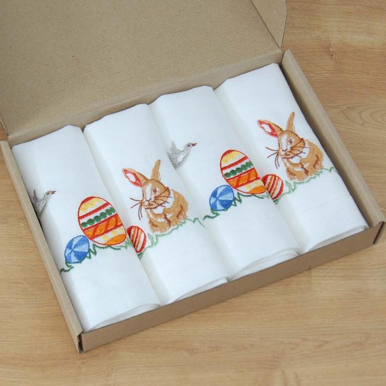 Пасхальные салфетки столовые ПИСАНКИ и КРОЛИКИ 40*40 - набор 2+2шт. (белый лён)