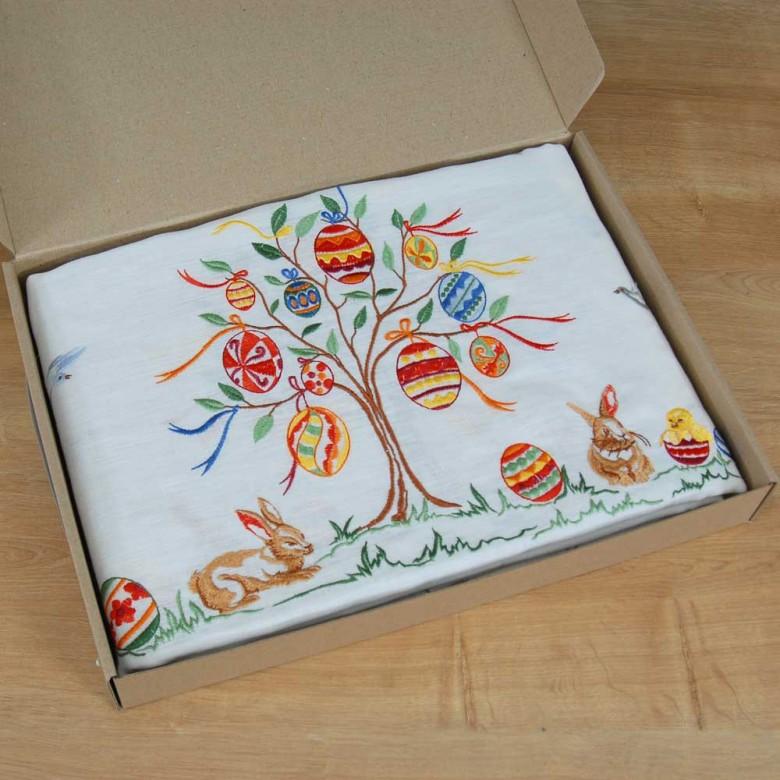 Лляна скатертина Великоднє дерево 180*140 овал (білий льон)