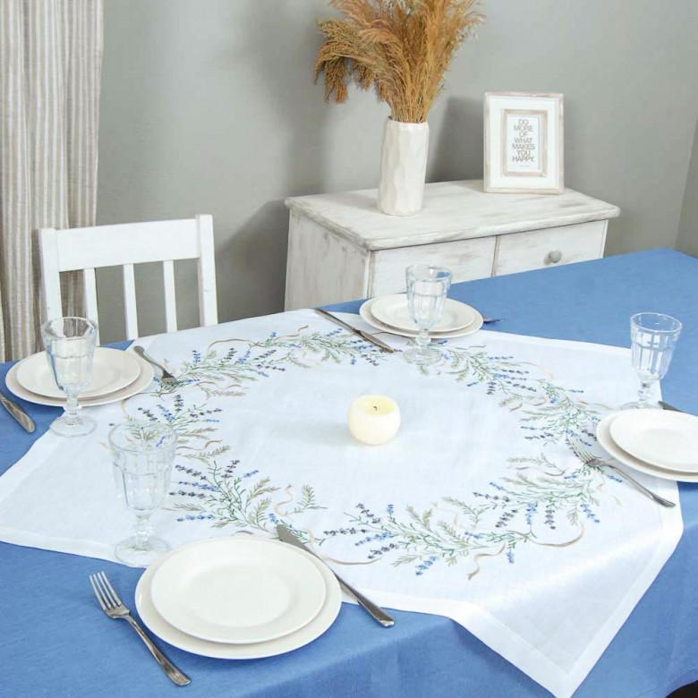 Серветка Лаванда 90*90 (білий льон)