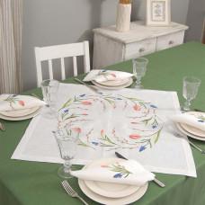 Набір столовий ТЮЛЬПАНИ 65*65 та 4 серветки (білий льон)