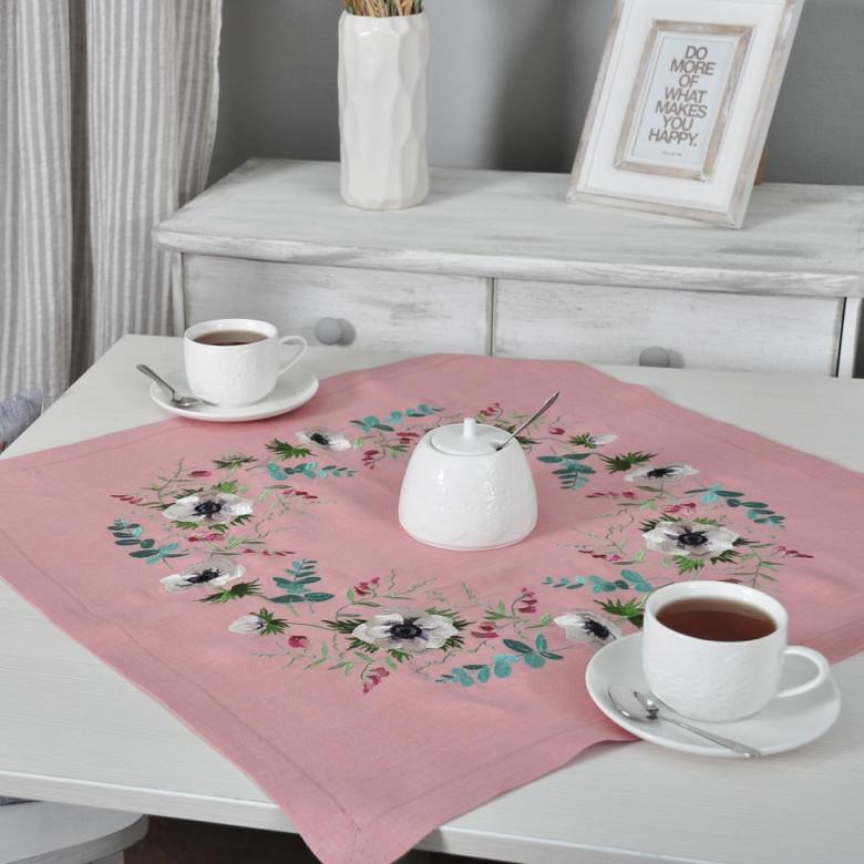Салфетка АНЕМОНЫ 65*65 (рожевий лён)