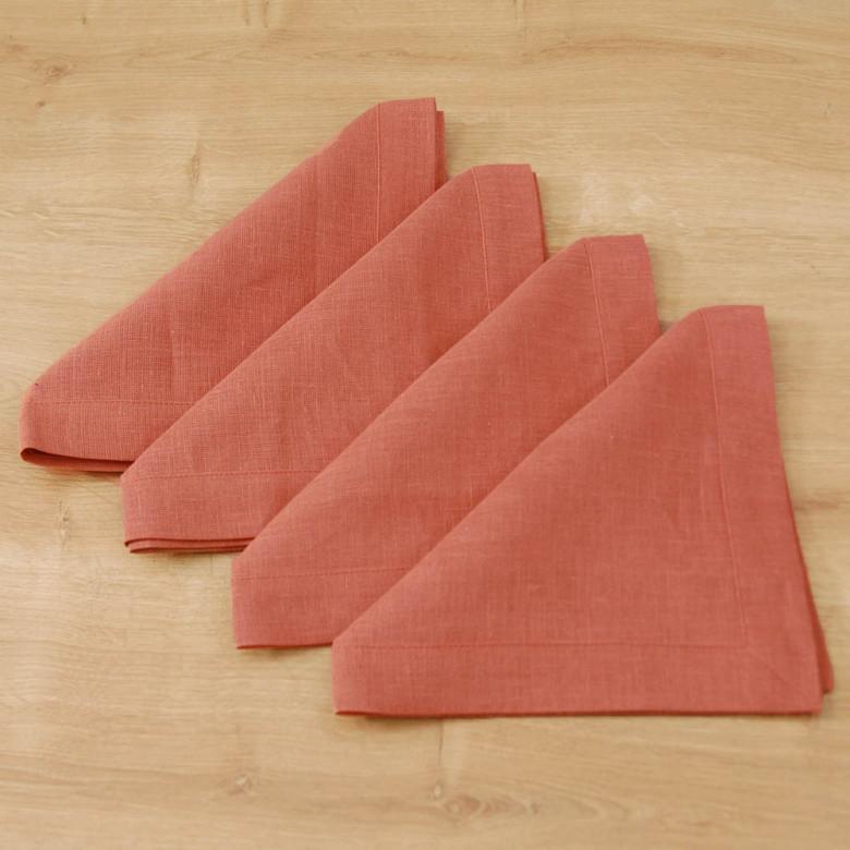 Серветки столові 40*40 - базовий набір 4шт (цегла льон)