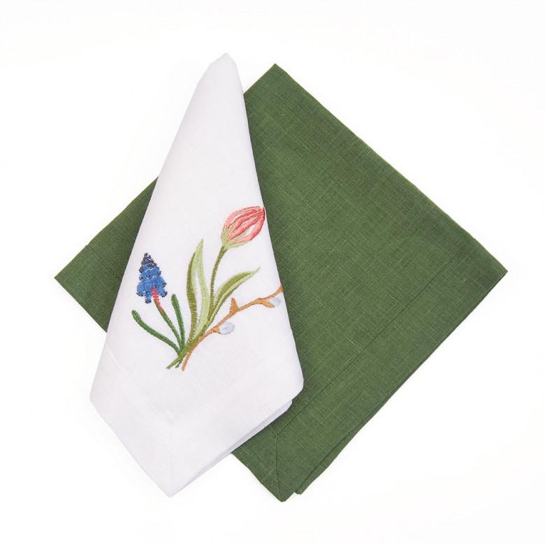Набір столовий ТЮЛЬПАНИ 90*90 та 2+2 серветки (білий+зелений льон)