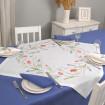 Набір столовий ТЮЛЬПАНИ 90*90 та 2+2 серветки (білий+синій льон)