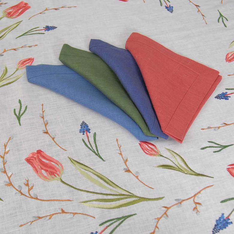 Набір столовий ТЮЛЬПАНИ 90*90 та 2+2 серветки (зелений+синій льон)
