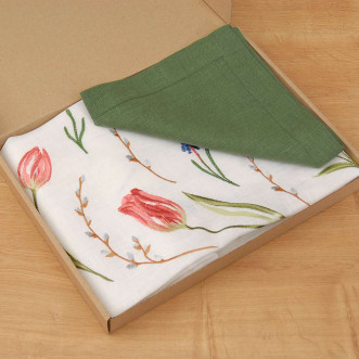 Набор столовый ТЮЛЬПАНЫ 90*90 и 4 салфетки (зеленый лён)