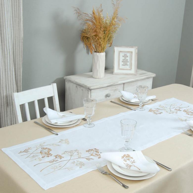 Набір столовий Суцвіття 140*40 та 4 серветки (сірий льон)