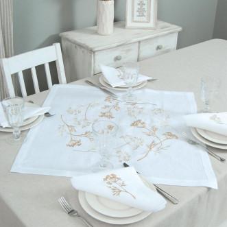 Набір столовий Суцвіття 65*65 та 4 серветки (сірий льон)