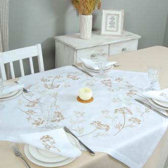 Набор столовый Соцветие 90*90 и 4 салфетки (белый лён)