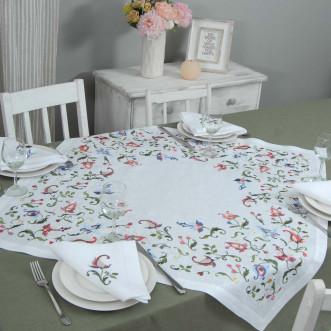 Набор столовый Роксолана: центральная салфетка 90*90см и 2+2 салфетки 40*40см (белый лен)