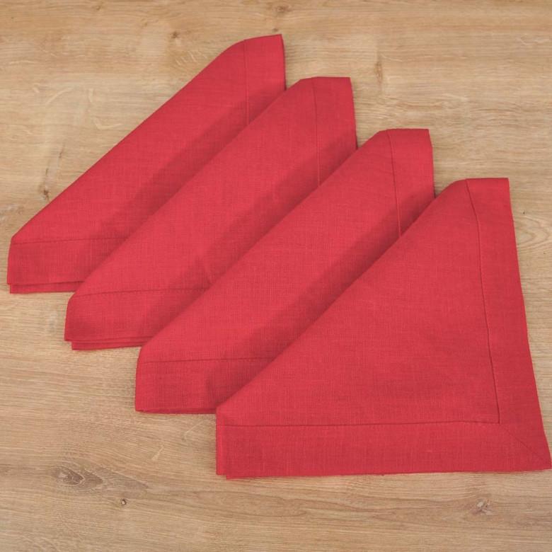 Лляні серветки на стіл 40*40см - базовий набір 4шт (червоний льон)