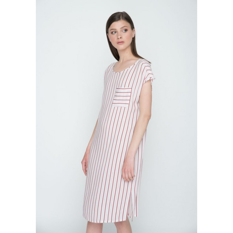 Плаття вільне р.40 (віскоза, бордово-білі смуги) мод.29552