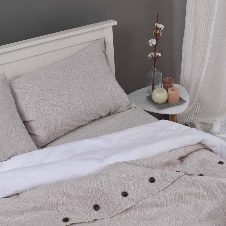 Комплект постільної білизни Коричневі полоси 1.5-спальний
