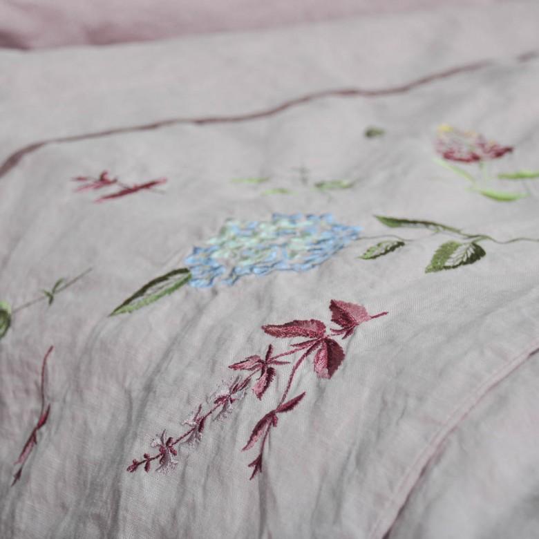 Лляна постіль з вишивкою ГОРТЕНЗІЯ мокко 2-спальний ЄВРО