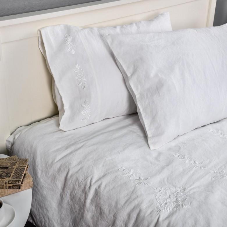 Лляна постільна білизна ГАРМОНІЯ БІЛА VI 2-спальний ЄВРО