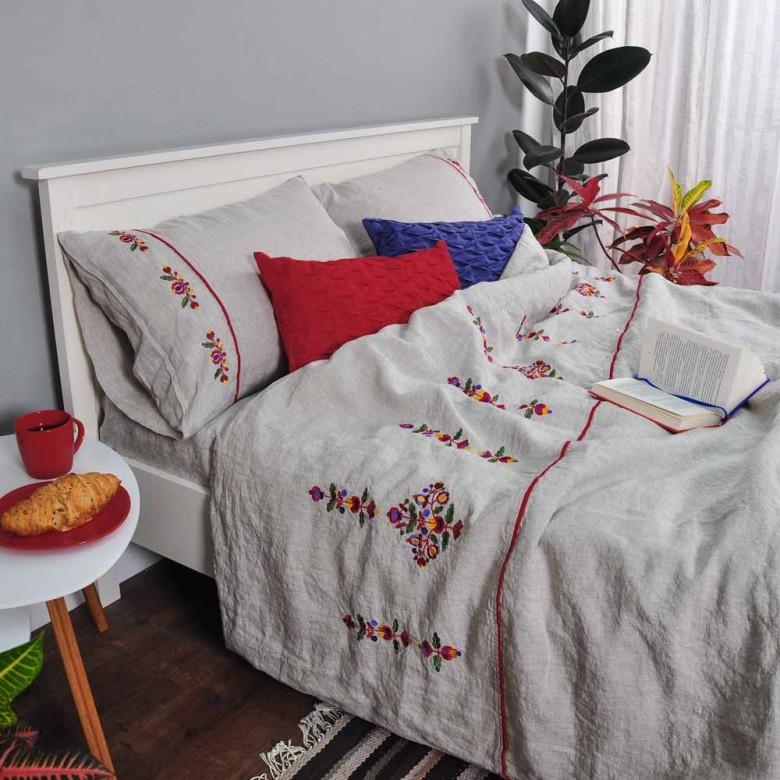 Лляна постільна білизна ЯВОРІВСЬКІ КВІТИ 2-спальний ЄВРО мод.1