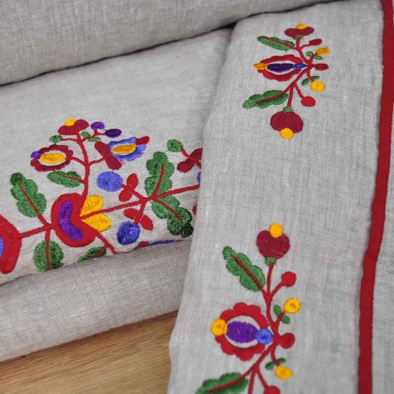 Лляна постіль з вишивкою ЯВОРІВСЬКІ КВІТИ 2-спальний ЄВРО мод.2