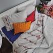 Постіль з льону ЯВОРІВСЬКІ КВІТИ 2-спальний ЄВРО мод.1