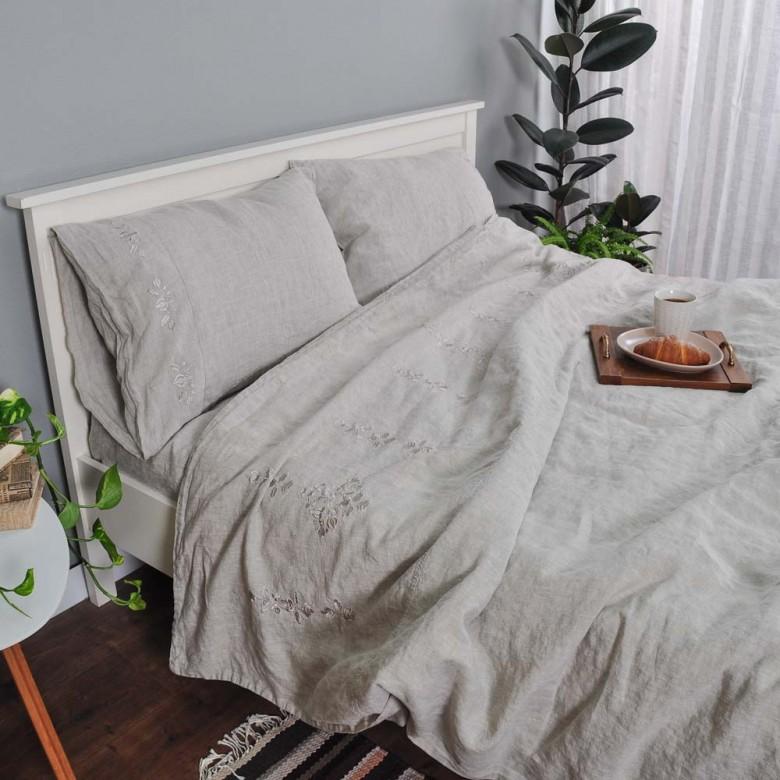 Лляна постільна білизна ГАРМОНІЯ СІРА 2-спальний ЄВРО мод.2