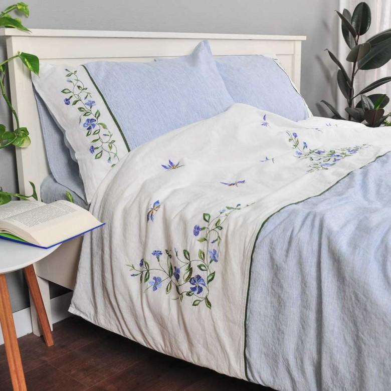 Постіль з льону БАРВІНОК 2-спальний ЄВРО